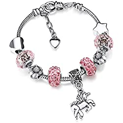 Bracelet de Breloque Licorne en Cristal Scintillant avec Coffre de Cadeau pour Filles Femmes (Rose, 16)