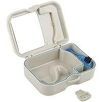 Estuche para dientes falsos de la caja dental con espejo y cepillo de limpieza de dientes, ideal para contenedores de guardias dentales, estuche de retenedores, contenedor de dientes falsos, mordedore
