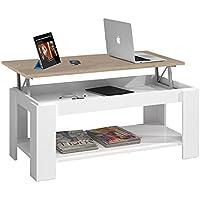 Habitdesign 0F1639BO - Mesa de centro elevable con revistero incorporado, color Roble Canadian y Blanco Brillo, 102x50x43/54