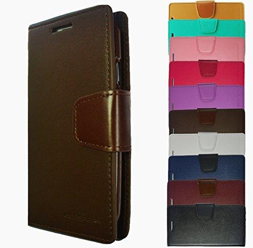 Für Samsung Galaxy Book Tasche Handy Hülle Etui Flip Cover Klapptasche Galaxy Alpha G850 Schwarz + Displayschutzfolie Braun