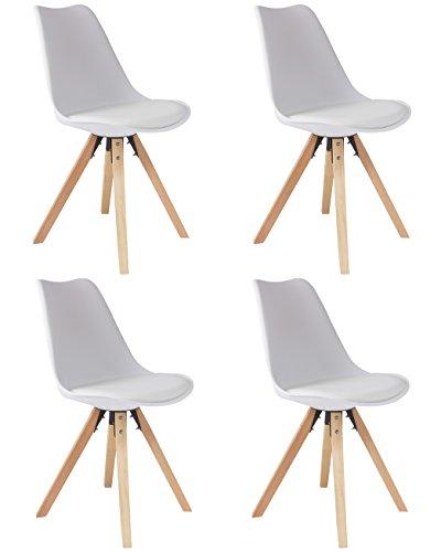 SAM 4er Set Schalenstuhl Bojan, weiß, integriertes Kunstleder-Sitzkissen, Gestell aus Eic