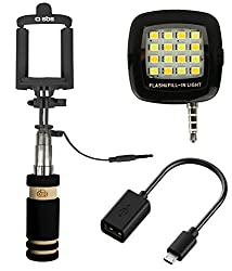 3 in 1 Combo of High Quality Mini Aux Selfi Stick, Rechargeable Led Flash Light and Micro Usb Otg Cable