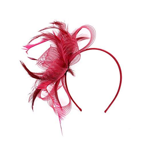 LONTG Fascinator Damen Mädchen Haarspange Feder Blumen Haarklammer Tea Party Kirche Haarreif Hochzeit Brautschleier Vintage Haarschmuck Mesh Stirnband mit Hair Clip für Halloween Fasching - Tea Party Mädchen Kostüm