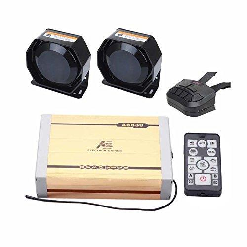 AS AS830E2-SPK0022 Polizei-Sirenen-Kit mit Sirenenenbox, Lautsprecher, 2 kabellosen Fernbedienungen, Mikrofon, 5-teiliges Set, mit 20 Tönen und Abspielfunktion für individuelle MP3-Sounds - Ton-sirene