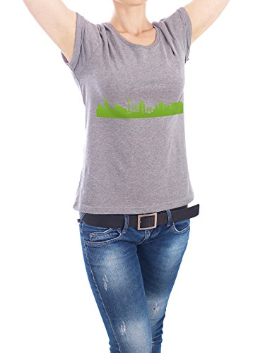 """Design T-Shirt Frauen Earth Positive """"YOKOHAMA 01 grüner Skyline-Print"""" - stylisches Shirt Abstrakt Städte Städte / Weitere Architektur von 44spaces Grau"""