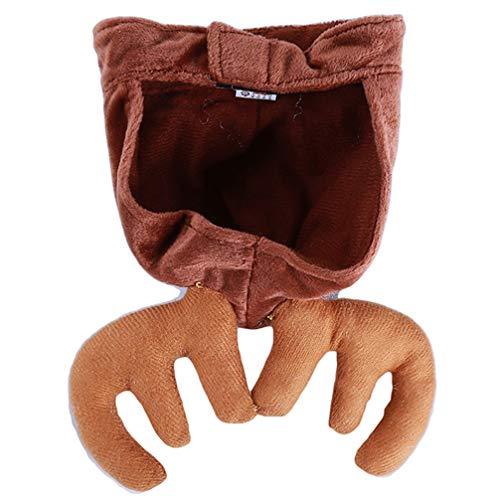 Toporchid Haustier Katze Hund Mütze Hut für Welpen Teddy Kätzchen Weihnachten Elch Geweih Rentier Kostüm