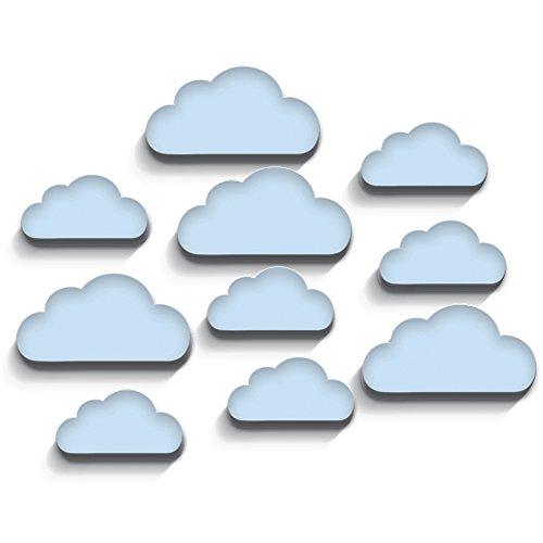 luvel (M6)- 10-er Set Wolken mit 3D-EFFEKT als Kinderzimmer Deko 19 x 10cm und 14 x 7 cm 10mm dicker Kunststoff (hellblau)