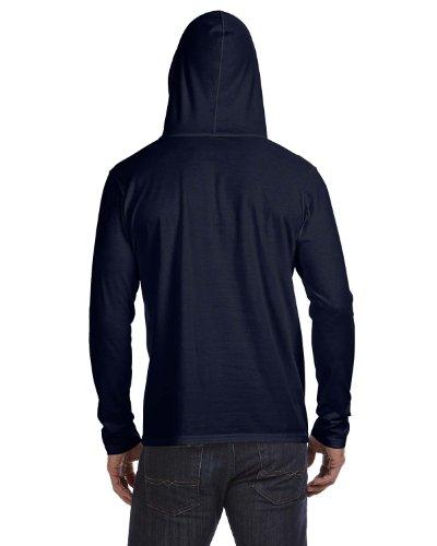 Anvil: Adult Fashion Basic LS Hooded Tee 987 Navy / Dark Grey