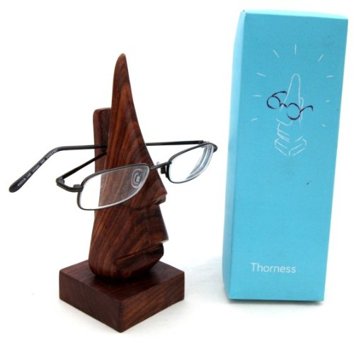 Nose shaped wooden spectacles holder