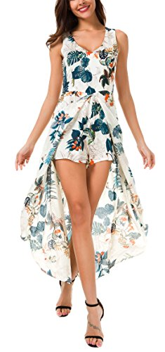 KorMei Damen Maxi Lang Kleid Tank Strand Spielanzug Boho Blumendruck Party Kleid Blau XL Boho Tank Kleid