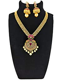 SSR One Gram Gold Plated Pink And Green Stones Necklace Set With Earrings For Women