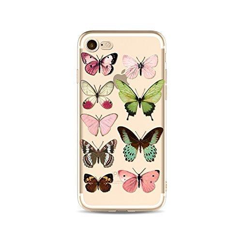Coque iPhone 6 6s Housse étui-Case Transparent Liquid Crystal en TPU Silicone Clair,Protection Ultra Mince Premium,Coque Prime pour iPhone 6 6s-Le Papillon-style 4 3