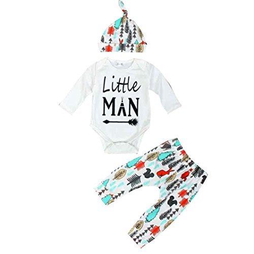 decorie neonato piccolo uomo manica lunga Top + Pantaloni + Cap vestiti Set