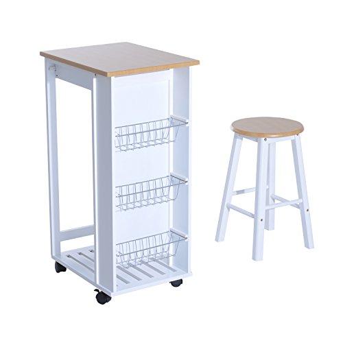 Homcom carrello da cucina bancone con sgabello in legno - Carrello cucina legno bianco ...