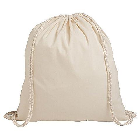 eBuyGB Pack de 10 enfants coton Drawstring sac à dos - Gym, natation, Sports, PE, sac rempli de livres (Beige)