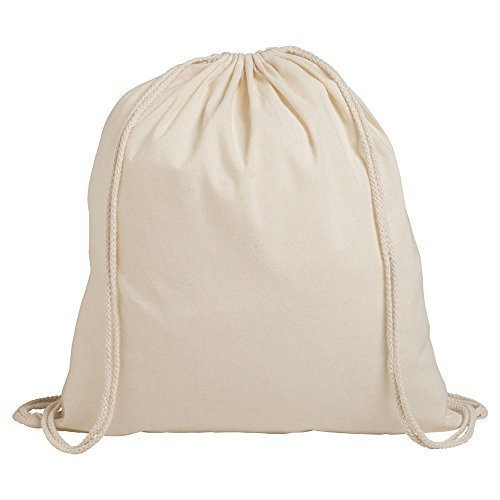 eBuyGB Pack für 10 Kinder Baumwolle Tunnelzug Rucksack - Fitnessstudio, Schwimmen, Sport, PE, Buch Tasche (Natural) (Naturals Natürlich Baumwolle)