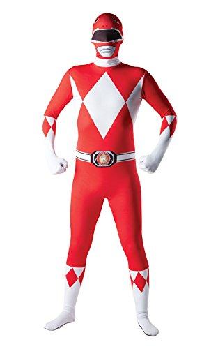 Mighty Morphin Red Power Ranger Zweithautkostüm, mittlere Höhe bis 162 cm, für - Mighty Morphin Power Rangers Kostüm Für Erwachsene