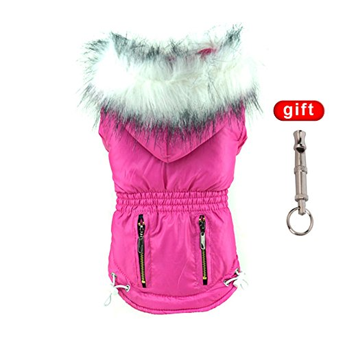 Handfly Hundemantel Wintermantel Hundejacke Hundepullover Hundekleidung mit Kaputze Violett Bust