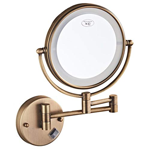 HUYYA Kosmetikspiegel mit licht wandmontage, Kompaktspiegel 3 x Fache Vergrößerung Make-Up Spiegel Doppelseitig Schminkspiegel Faltbar Powered by Plug,Bronze_8inch