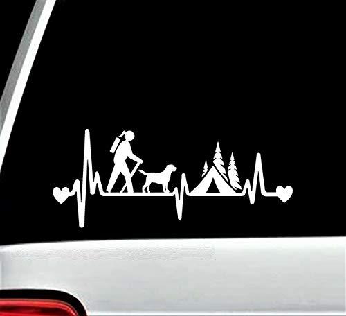 myrockshirt Herzschlag Wanderin mit Hund Zelt Wald Camping wandern Hike Heartbeat Aufkleber,Sticker,Decal,Autoaufkleber,UV&Waschan