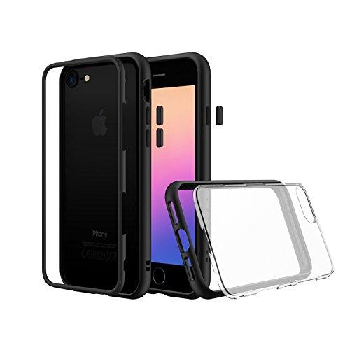 iPhone 8, iPhone 7 Premium Dünnes Modular Case [RhinoShield Mod] Shock Absorbierende Schutzhülle - Kompatibel mit Kabellosem Laden & Kammeraobjektiven - Dunkelblauer Bumper mit transparenter Rückseite Black with Clear Backplate