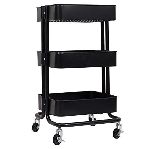 WOLTU Küchenwagen Rollwagen Servierwagen Küchentrolley Metall Roll Regal für Küche Bad Büro mit Rollen 3 Etagen Schwarz RW005sz