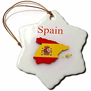 "3dRose"" Image of Exotic Spain Map and Seal in Flag Colours Snowflake Ornament, Multi, 3-Inch"