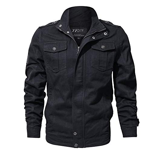 MIRRAY Herren Jacke Herbst Winter Casual Langarm Solide -