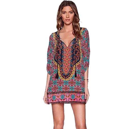 Culater® Patrón Mujeres Imprimir Vintage vestido de verano flojo (L)