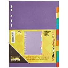 Idena 10091 Index Card 160 g/m² DIN A4 12 Pieces Multi-Coloured