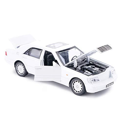 IVNGRI-Auto Model S-W140 Mercedes-Benz Weiß 1/32 Diecast Modellauto Simulation Legierung Roadster-Modus Spielzeug Vechiles Sammeln Modellautos Geschenke (Model Auto Kit Nissan)