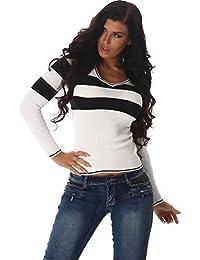 Jela London Damen Pullover Longpulli Streifen V-Ausschnitt Longsleeve  Langarm-Shirt Strickkleid Stretch Slim-Fit 34… db35ad1ebd