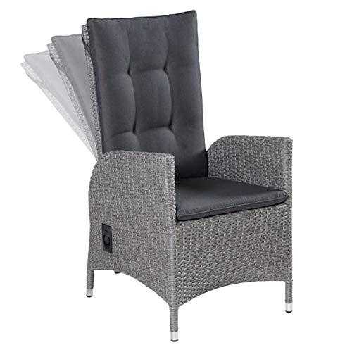 LC Garden Positionsstuhl Verstellsessel Modesto Dining grau verstellbare Rückenlehne Polyrattan-Geflecht