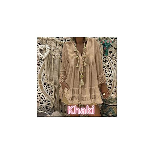 Lace Shirts Dress Long Sleeve V-Neck Pleated Loose Mini Dress Female Sexy Blouse Vestido Plus Size Khaki XXXL ()