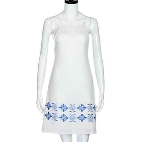 5f6fc94c5dbb3 ... Amlaiworld damen mit aufdruck Blumen Strand kleider elegant Trägertop  Kleid mode locker kleidung für Mädchen Weiß ...