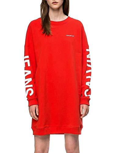 Calvin Klein Jeans Damen Sweatkleid Insitutional Logo rot (74) M -