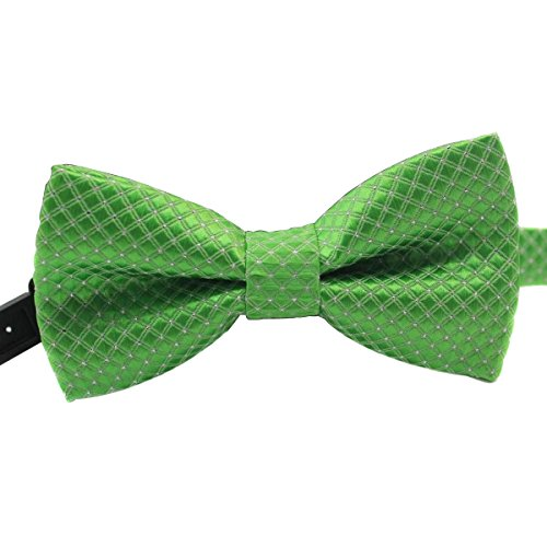 Cravate SAPEOO Haut De Gamme Enfants, Garçons Plaid De Style Britannique Superposés Petit Noeud Papillon, L'exécution Essentielle, L'herbe Verte green