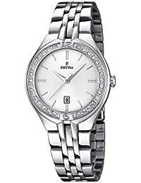 Festina Reloj de cuarzo para mujer con blanco esfera analógica pantalla y pulsera de acero inoxidable (Plata F16867/1