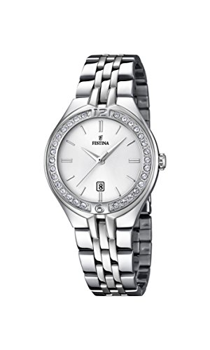 Festina Women's Quartz Watch with White Dial Analogue Display and Silver Stainless Steel Bracelet F16867/1