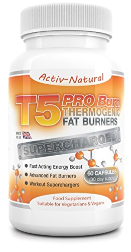 Activ-Natural T5 Pro-Burn Thermogenic Advanced Fat Burners - Schnell wirkender Workout Supercharger 60 Kapseln (30-Tage-Vorrat)