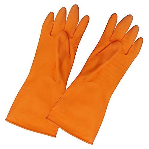 Latex-Gummi-Handschuhe Wäsche Handschuhe dauerhaft Kunststoff-Gummi-Handschuhe waschen Hausarbeit zu tun (Orange) ()