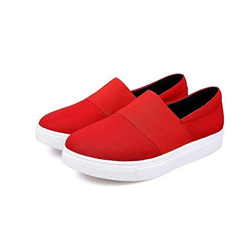 AllhqFashion Femme Rond à Talon Bas Couleur Unie Tire Chaussures Légeres Rouge