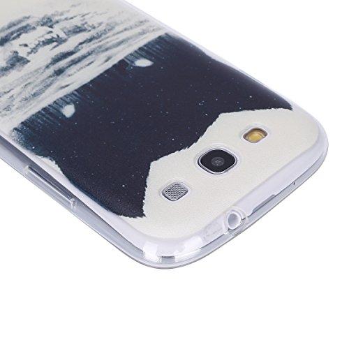 Galaxy S3 Soft Silicone Tpu Coque Mode,Transparent Coque pour Samsung Galaxy S3 Neo,Ekakashop Ultra Mince Jolie Peacock Fleur Design Souple imprimée Etui Housse de protection Cristal Clair Gel Case Pr Tête de Loup Colline