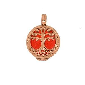 Aura Anhänger Lebensbaum S (2cm) Edelstahl rosé Set mit Kraftstein, Farbe:Orange
