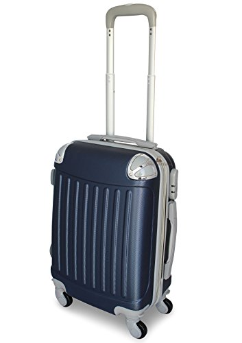 TROLLEY VALIGIA BAGAGLIO A MANO ABS CABINA RYANAIR EASY JET 4 RUOTE LOW COST NUOVO 2017 (BLU)