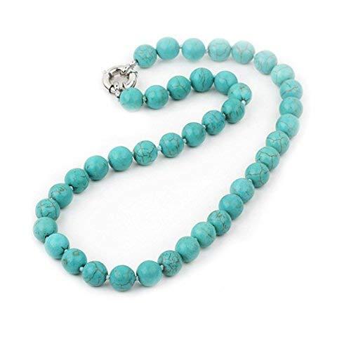 TreasureBay Halskette mit Karabinerverschluss, 10 mm Türkis, Edelstein Perlen, Länge 44 cm, Lieferung in hübscher Geschenkbox