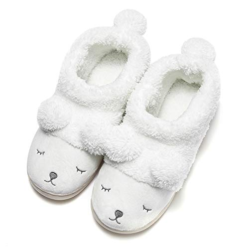 Pantofola peluche invernale animale donna bianca (high top) 35/36 eu