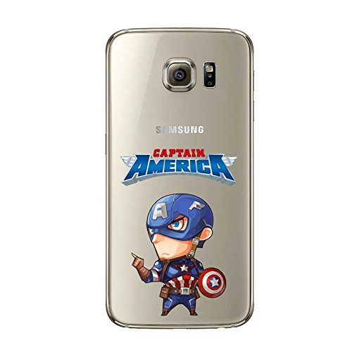 TPU Softcae Weiß Protective Schutzhülle Handycover Etui Bumper Staubdicht Telefon-Kasten Case Shell Abdeckung Bumper Back Cover, Sammlung Marvel DC, Spider Man, iPhone 6 6S Captain America
