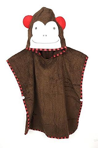 Bade-Poncho für Jungen und Mädchen von SCHLUPFI: Kuscheliges Tiermotiv-Badetuch aus Baumwolle (Frottee) mit Kapuze - Baby-Strandtuch oder Kinder-Handtuch - Affe braun
