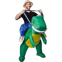 dressforfun Disfraz montado en dinosaurio inflable adulto | Funciona con pilas | Máxima libertad de movimiento